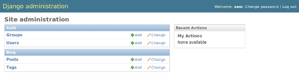 Screenshot of admin interface